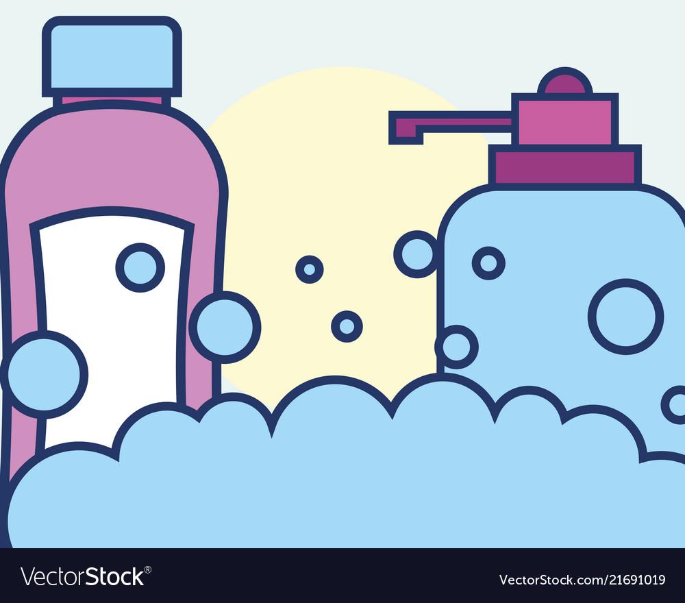 Bottle liquid soap and shampoo bubbles foam.