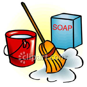 Soap and Water Bucket Clipart.
