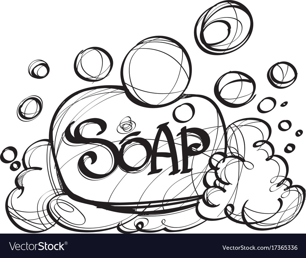 Soap with foam hand drawing black and white.