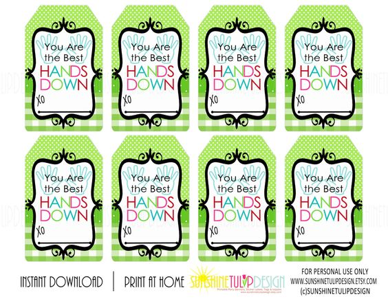 You are the Best HANDS DOWN Printable Gift Tags, Buffalo Plaid.