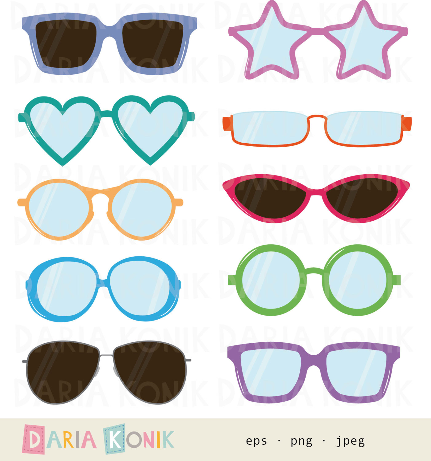 Glasses Clip Art Set.
