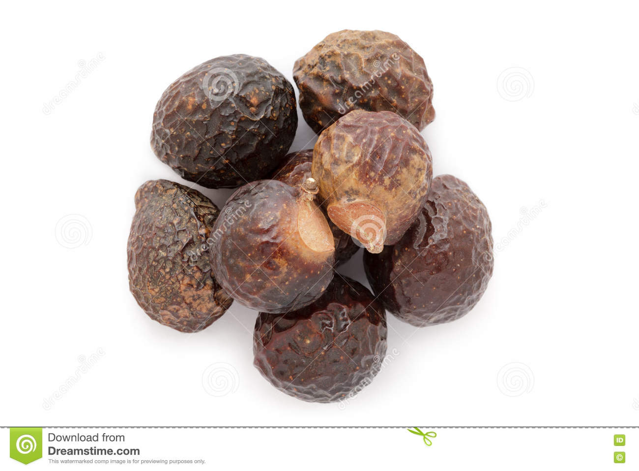 Organic Chinese Soapberry (Sapindus Mukorossi) Seeds. Stock Photo.