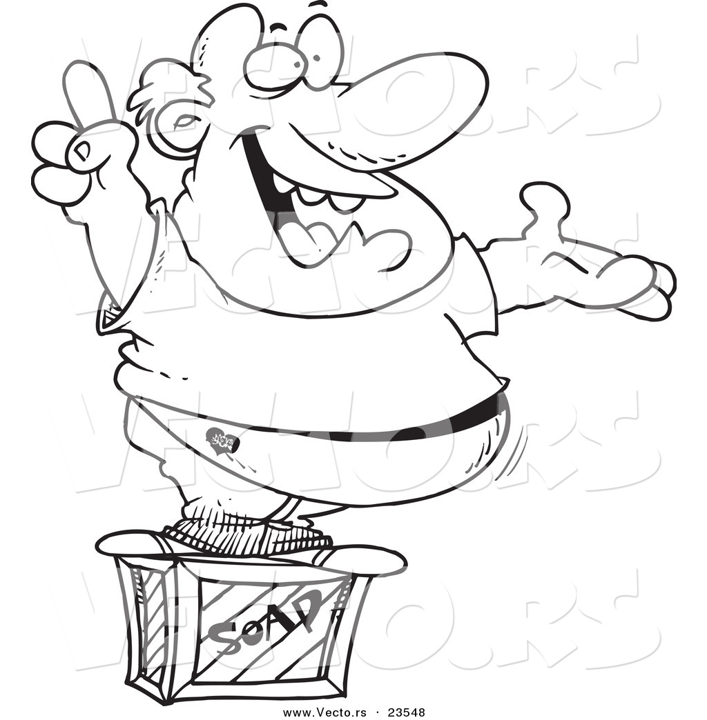 Vector of a Cartoon Man Announcing on a Soap Box.