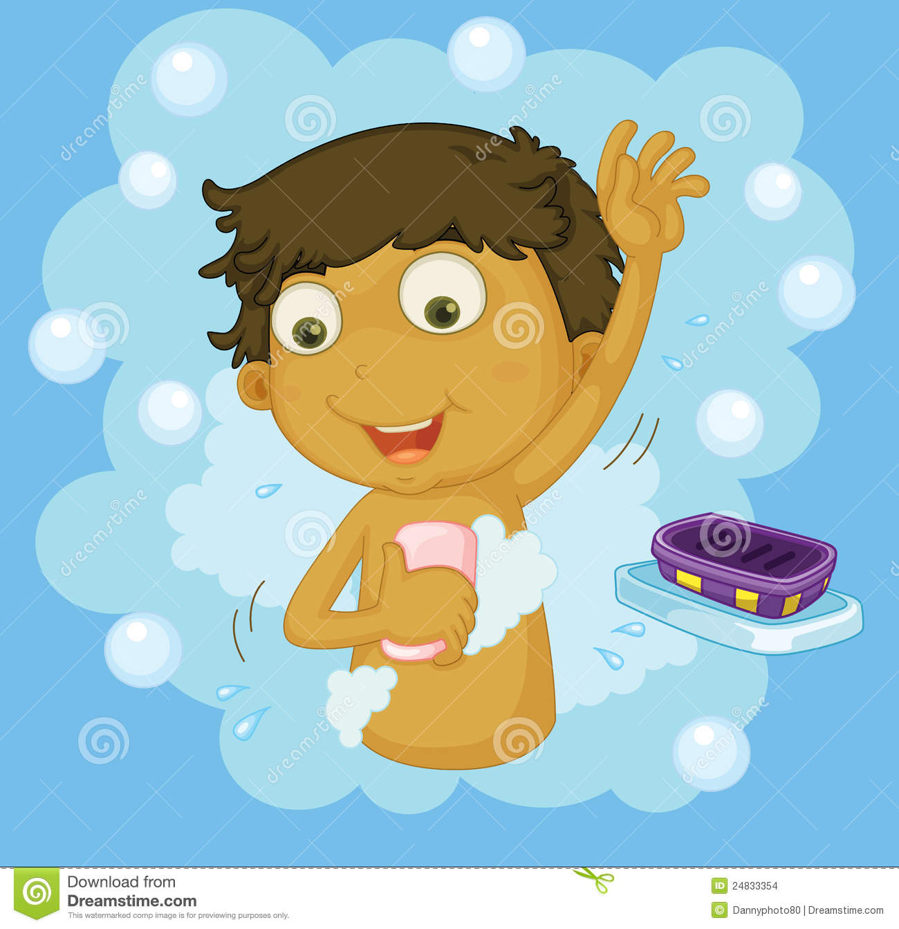 Boy Showering Stock Images.