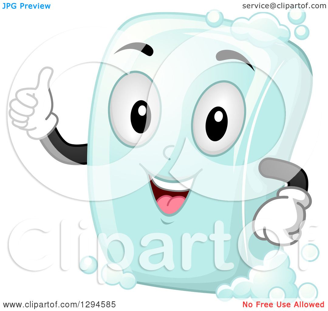 Clipart of a Happy Cartoon Soap Bar Character Giving a Thumb up.