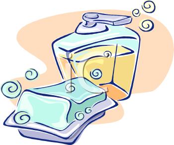 A Bar of Soap and a Dispenser of Liquid Soap.