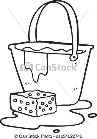 EPS Vector of black and white cartoon bucket of soapy water.