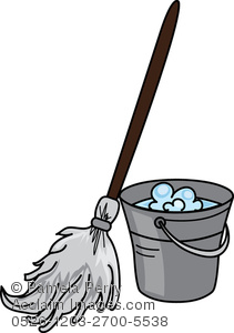 Clip Art Illustration of Pail Filled With Soapy Water and a Mop.