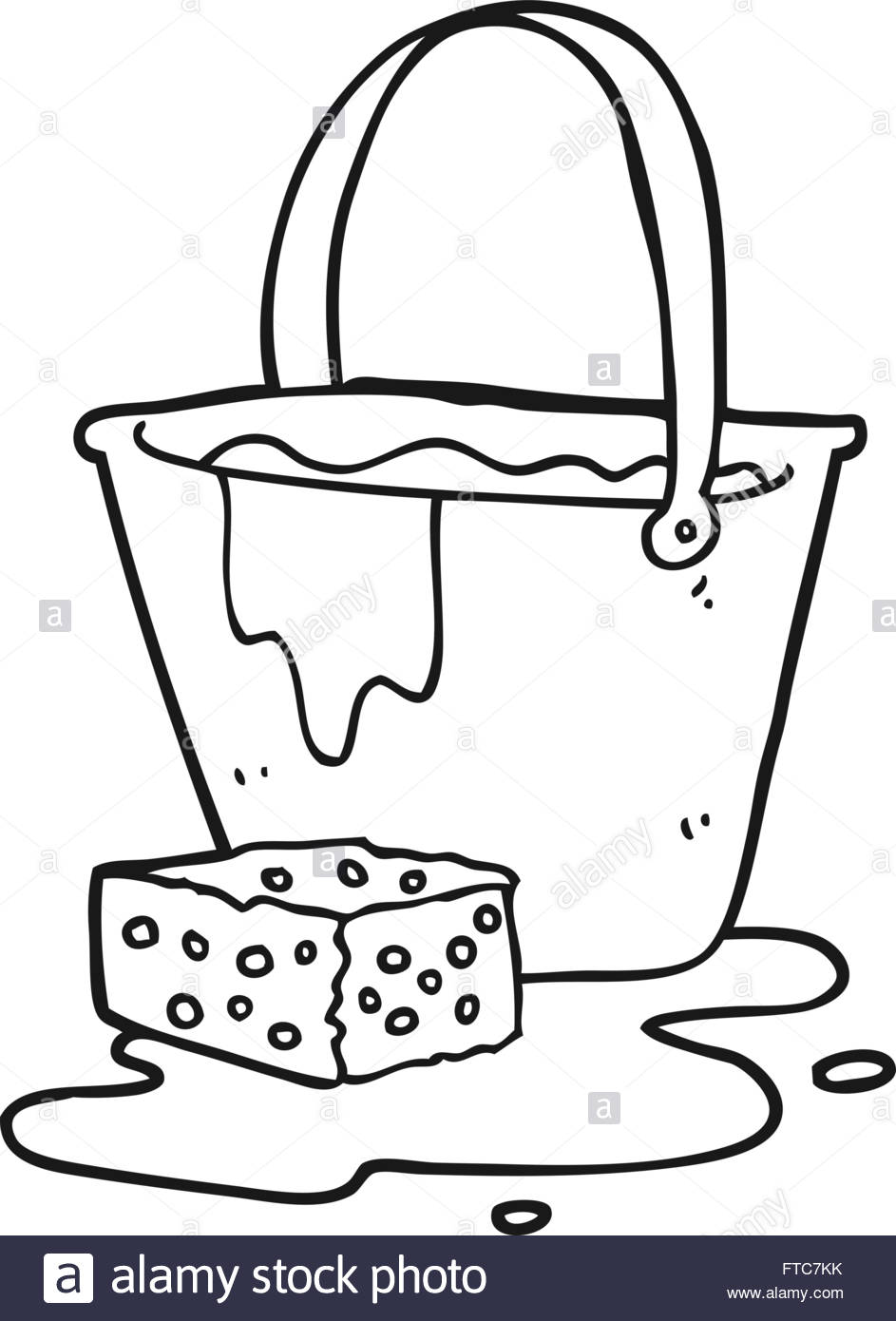 Freehand Drawn Black And White Cartoon Bucket Of Soapy Water Stock.