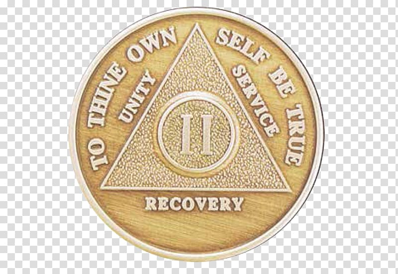 Alcoholics Anonymous Sobriety coin The Big Book Medal, hand.