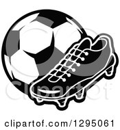 Clipart of a Winged Soccer Cleat Shoe over a Ball in a Green.