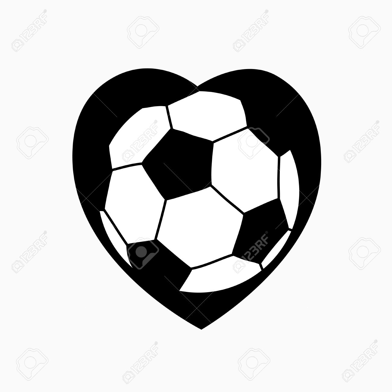 Soccer Ball In The Form Of Heart Vector Illustration Royalty Free.