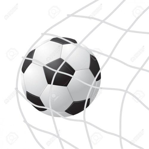 Realistic Detailed 5d Soccer Ball Hitting on Net.