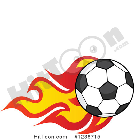 Soccer Clipart #1236715: Flying Soccer Ball with Flames by Hit Toon.