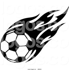 Royalty Free Clip Art Vector Logo of a Black and White Soccer Ball.