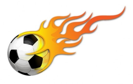 Soccer Ball With Flames Clipart.