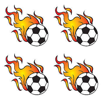 Flaming soccer ball clipart.