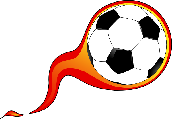 Free Soccer Ball with Flames Clipart Image.