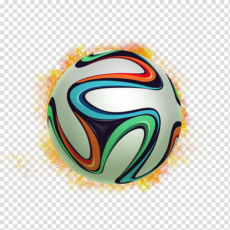 White, green, and blue soccer ball, 2014 FIFA World Cup.