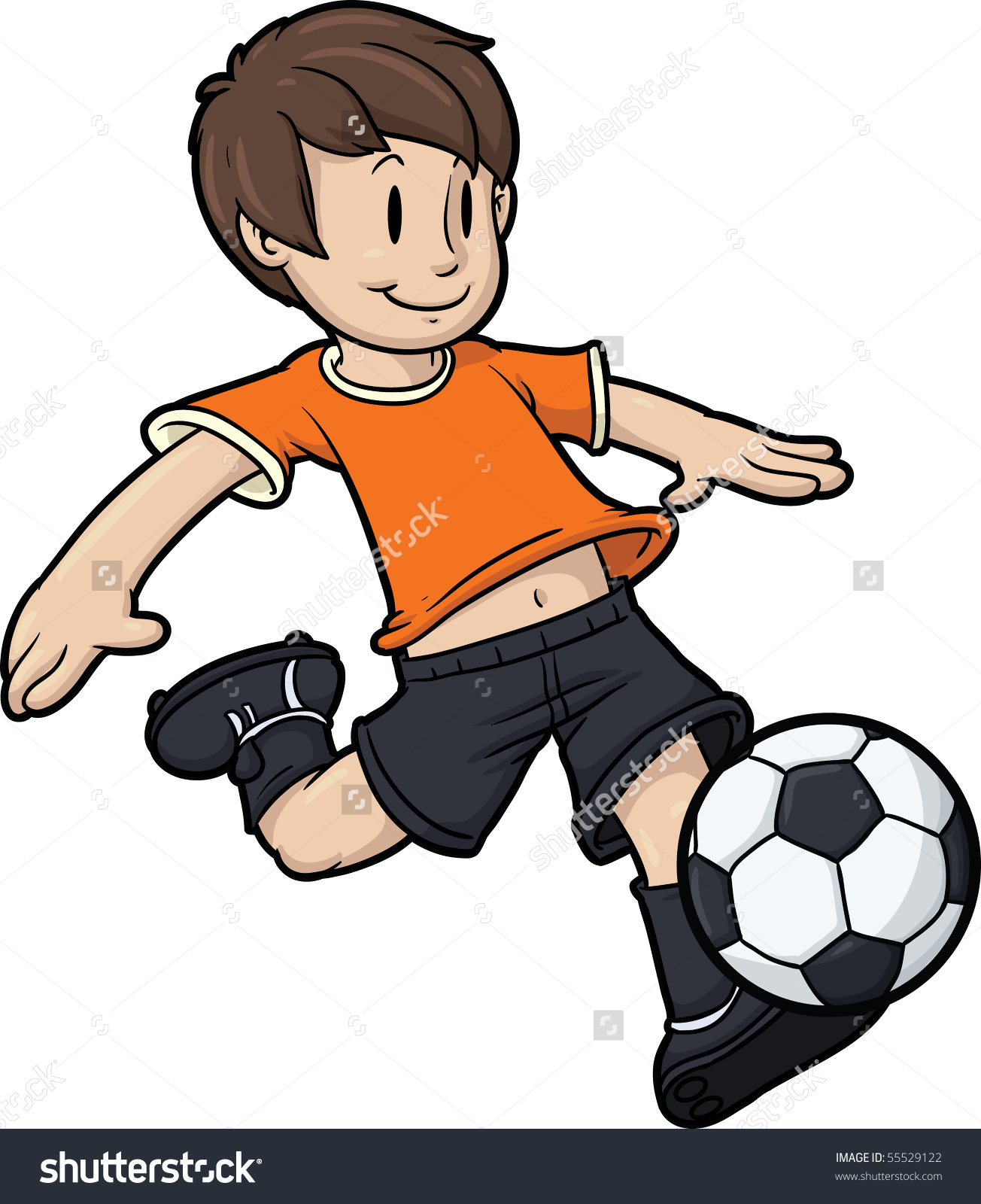 Cartoon Boy Playing Soccer Kid Soccer Stock Vector 55529122.