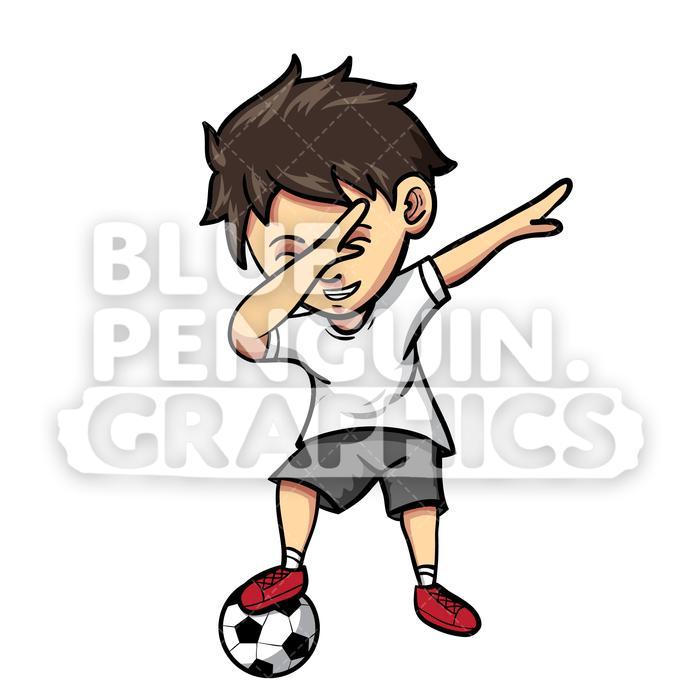Soccer Dabbing Boy Vector Cartoon Clipart Illustration.