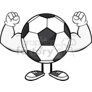 soccer ball faceless cartoon mascot character flexing vector illustration  isolated on white background clipart. Royalty.