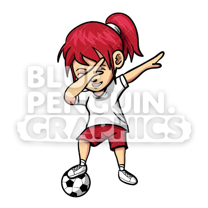 Soccer Dabbing Girl Vector Cartoon Clipart Illustration.