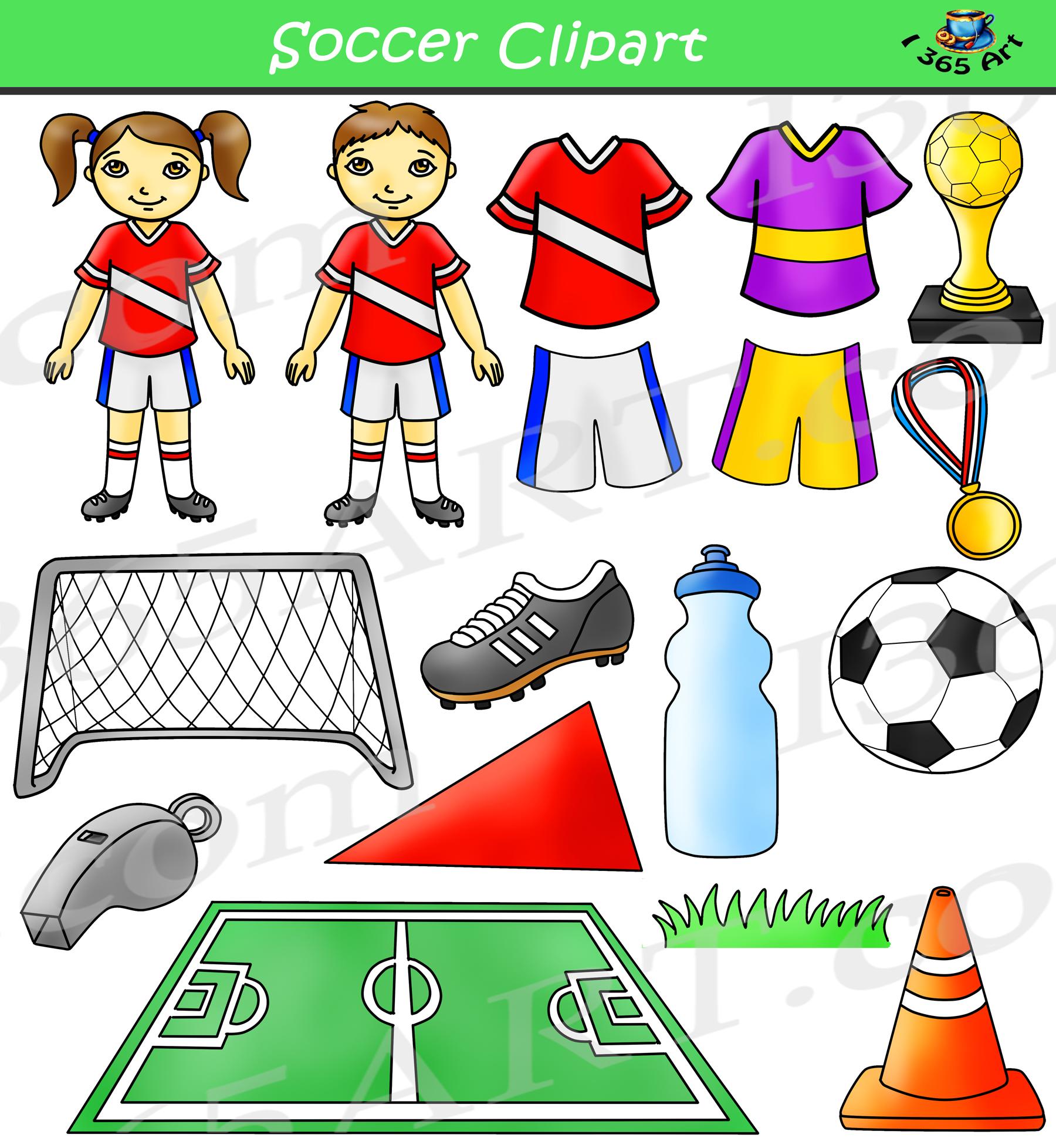 Soccer Clipart Bundle Set.