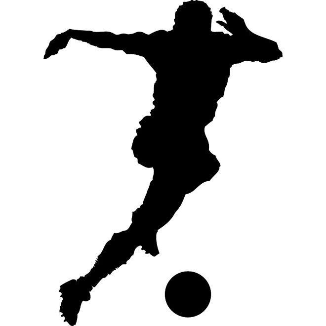 Soccer player silhouette vector.
