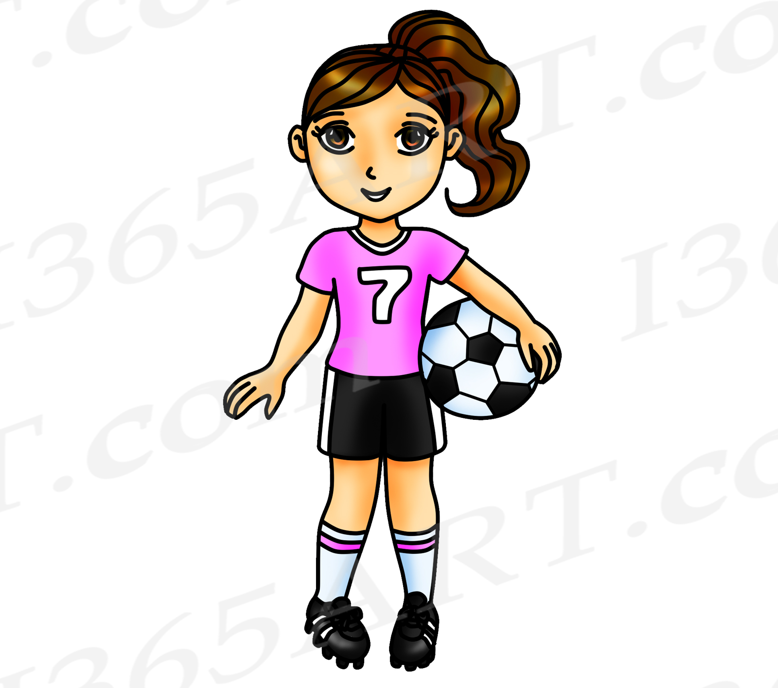 Soccer Clipart, Pink Soccer Girl Clipart, Sports Clip Art, Pink Team, World  Cup, Olympics, Soccer Team, Planner Stickers, African American.