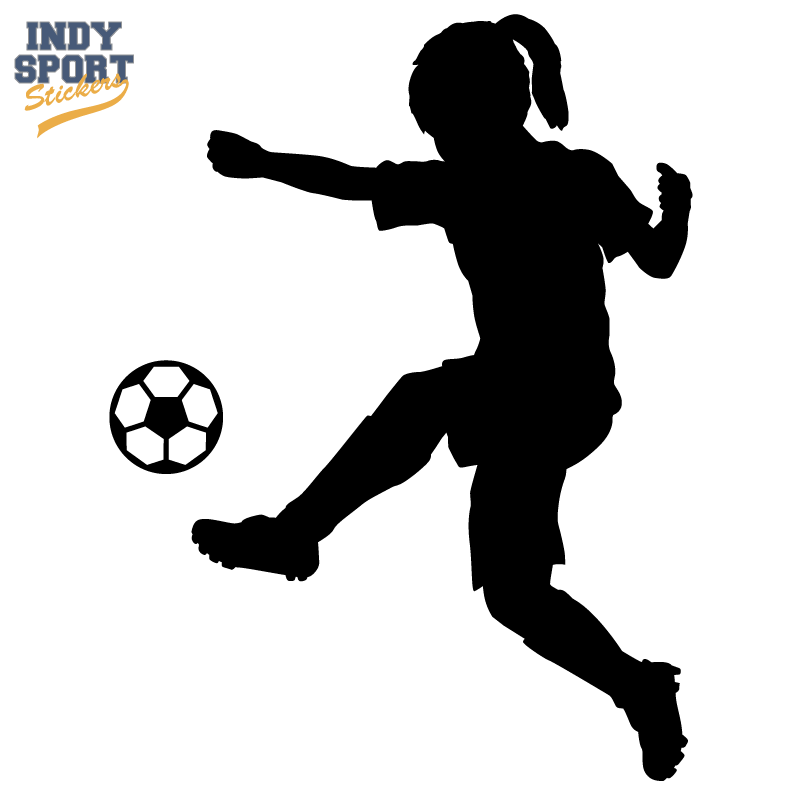 Girl Kicking A Soccer Ball.