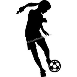 Download girl kicking soccer ball silhouette clipart.