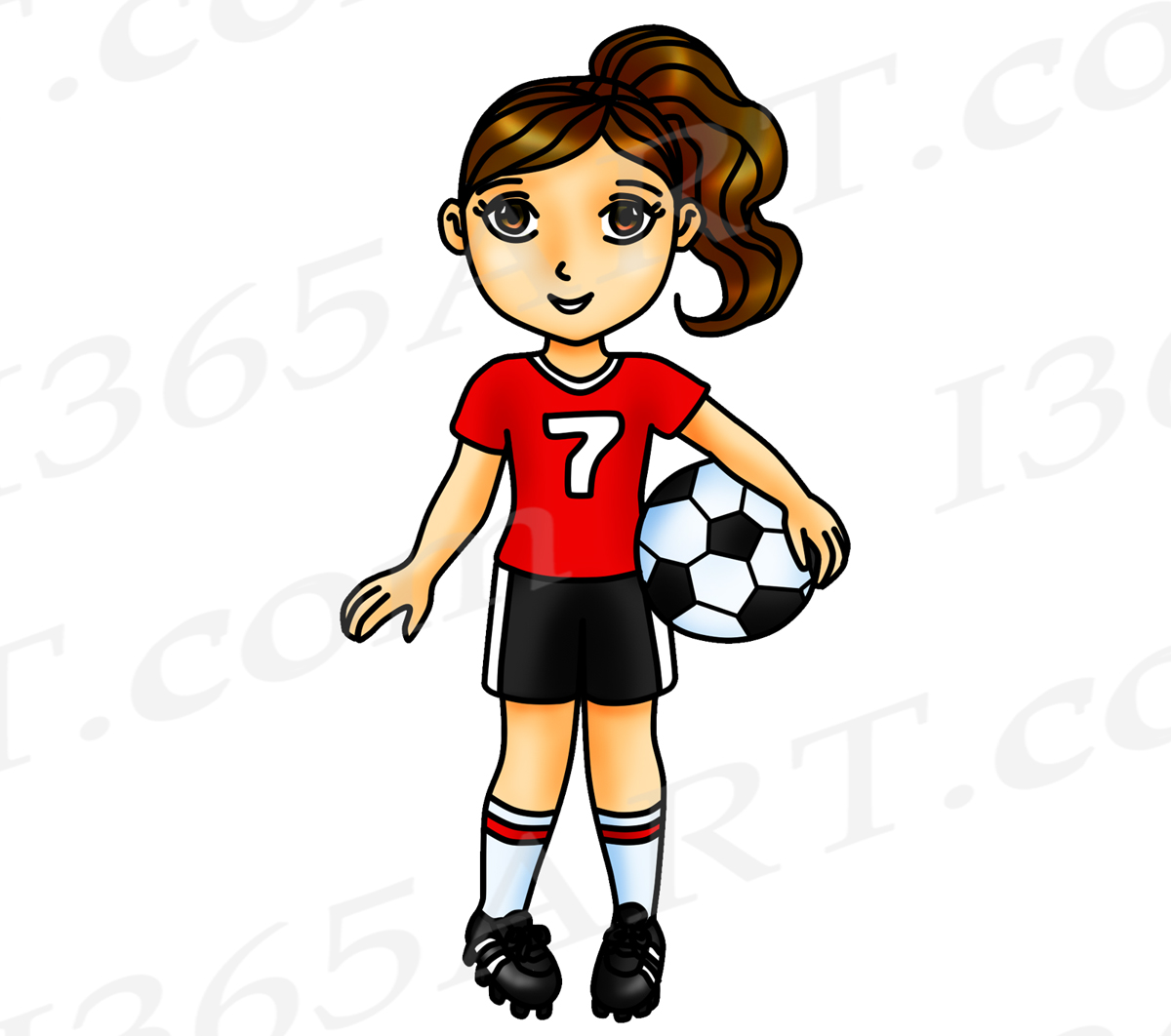 Soccer Clipart, Red Soccer Girl Clipart, Sports Clip Art, Red Team, World  Cup, Planner Stickers.