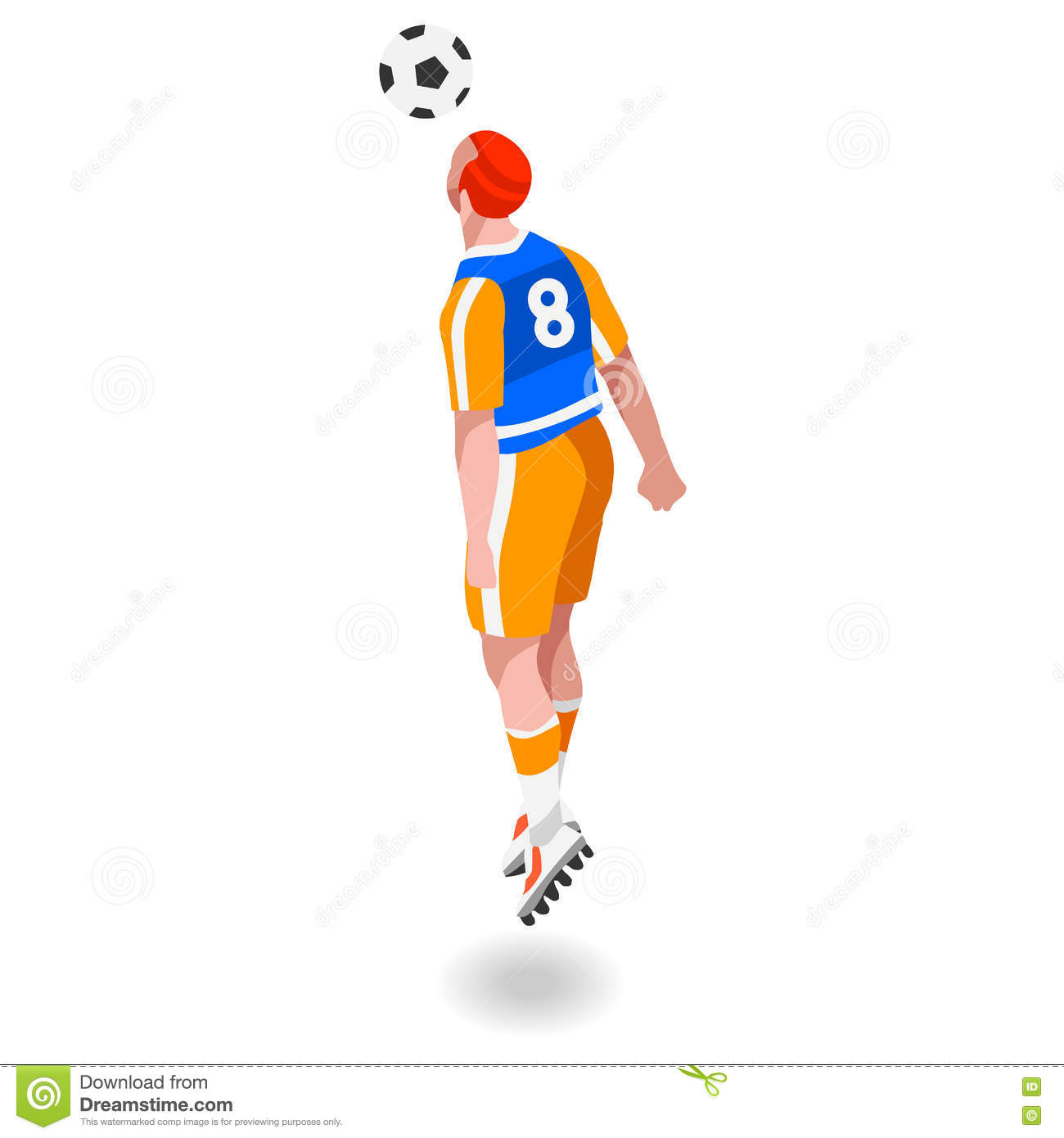 Soccer Header Player Athlete Sports Icon Set.3D Isometric Field.