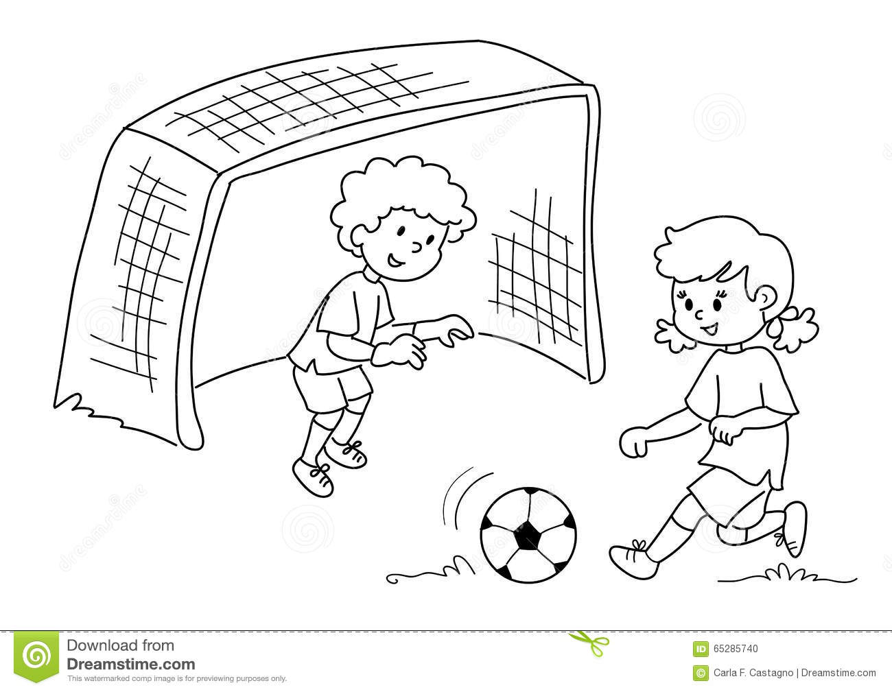 Kids Playing Soccer Clipart Black And White.