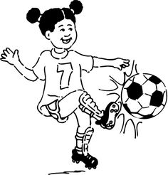 Girl Playing Soccer Clipart Black And White.
