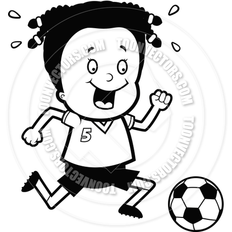 Child Playing Soccer (Black and White Line Art) by Cory Thoman.