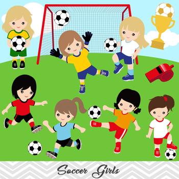 Girls Soccer Clipart, Girl Soccer Digital Clip Art, Sport Clipart, 0257.