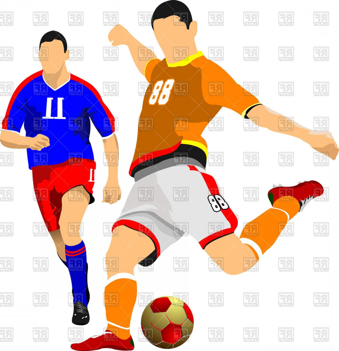Two Soccer Players Vector Clipart.