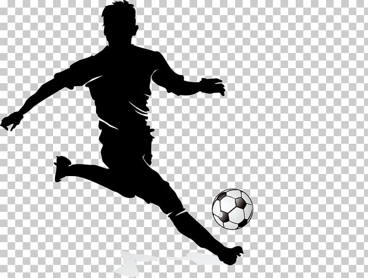 Football player Dribbling, Football player silhouette.