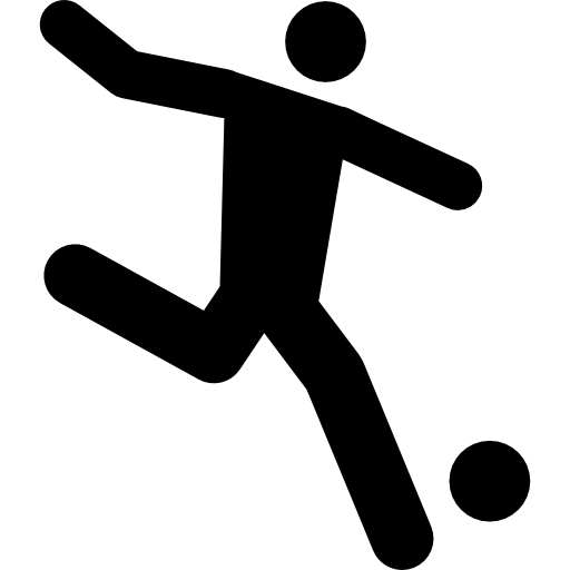 Football player running behind the ball Icons.