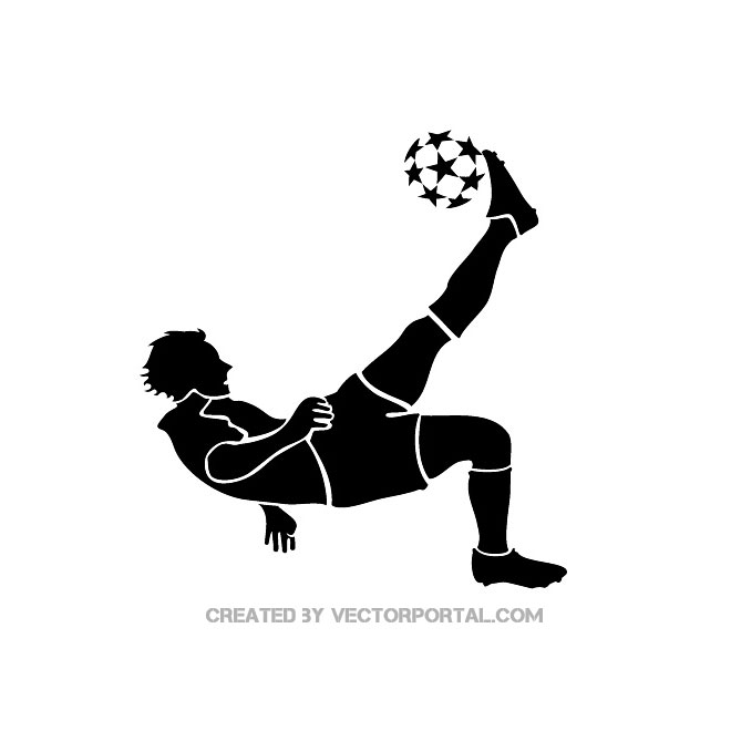 SOCCER PLAYER KICKING BALL VECTOR.