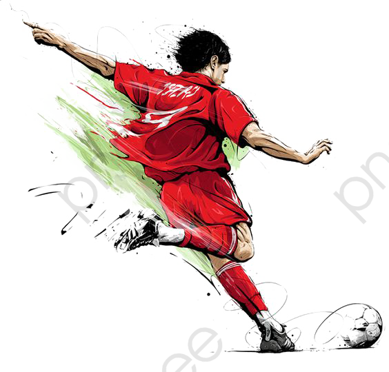 Soccer Player, Soccer Clipart, Hand Painted, Football PNG.