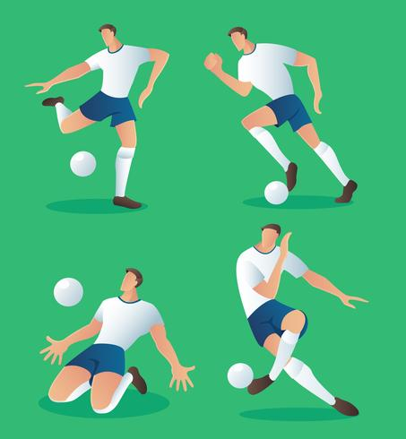 set of characters soccer action player , football player.
