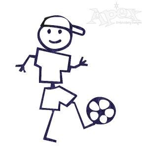 Soccer Boy Embroidery Design. Stick figure. Size: 2.56\