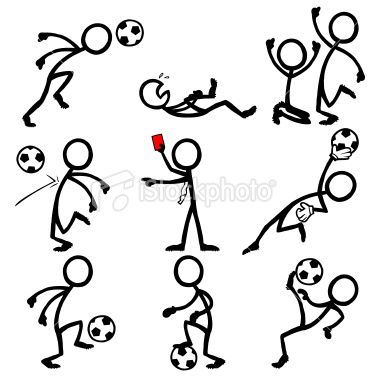 Stick Figure Peoples playing soccer..