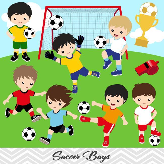 Boys Soccer Digital Clip Art, Sport Boys Soccer Team Clipart, 00256.