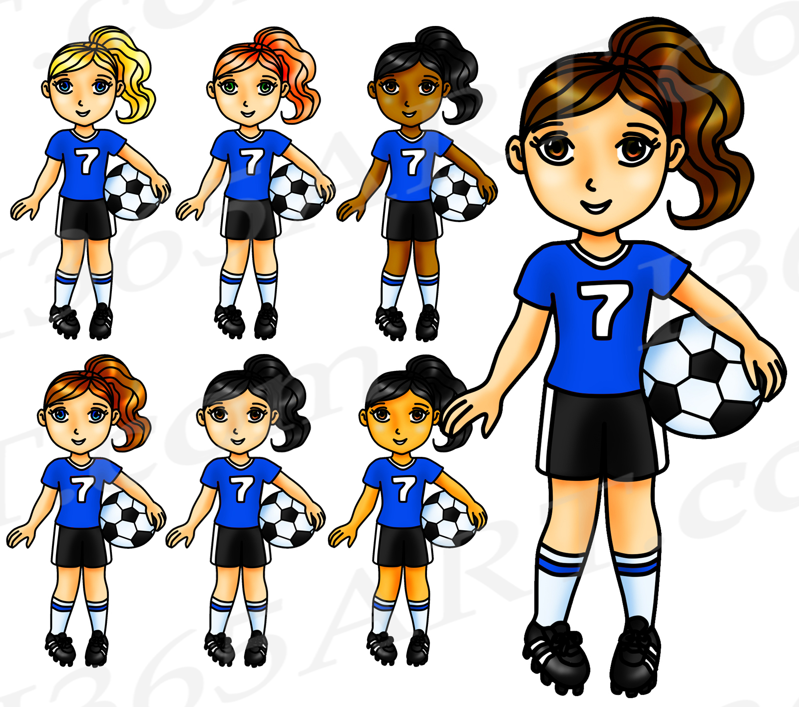 Soccer Clipart, Blue Girl Clipart, Sports Clip Art, Pink Team, World Cup,  Olympics, Soccer Team, Planner Stickers, African American.