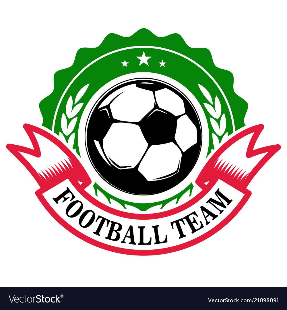 Football team emblem template with soccer ball.