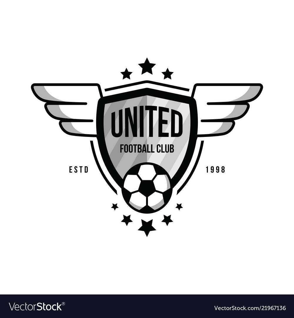 Soccer team logo with a ball and wings on white.